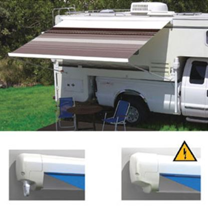 """Picture of Carefree Freedom Ocean Blue Vinyl 9' 10""""L X 8'Ext Adj Pitch Manual Box Awning 351188E25 00-0966"""