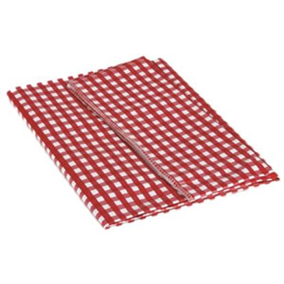 "Picture of Camco  52"" x 84"" Red & White Checkered Rectangular Vinyl Tablecloth 51019 03-0742"