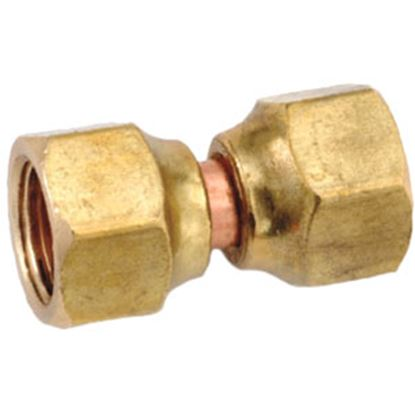 "Picture of Anderson Metal LF 7700 Series 3/8"" OD Tube 45 Deg SAE Flare Swivel Nut Brass Fresh Water Straight Fitting 704070-06 06-1310"