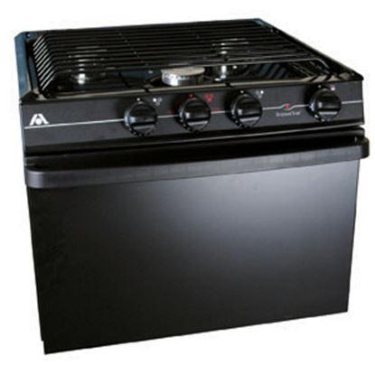"Picture of Dometic  17"" Black 3-Burner Electronic Range 52458 07-0243"