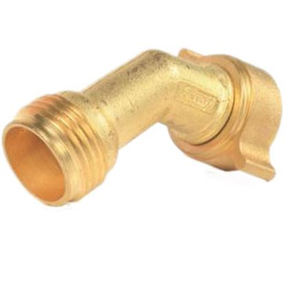 Picture of Camco  Brass 45 Deg Elbow Fresh Water Hose Connector For Std GHF Coupling 22605 10-0579