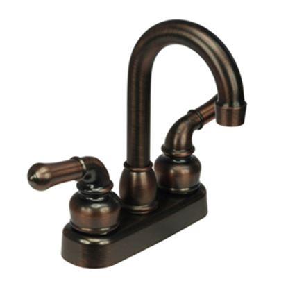 """Picture of Dura Faucet Classical Series Bronze w/Teapot Handles 4"""" Lavatory Faucet w/Hi-Arc Spout DF-PB150C-ORB 10-0643"""