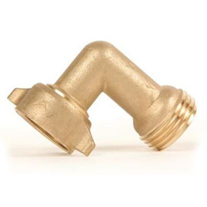 Picture of Camco  Brass 90 Deg Elbow Fresh Water Hose Connector For Std GHF Coupling 22504 10-1617