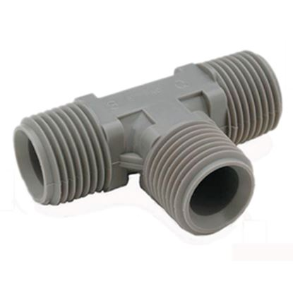 "Picture of QEST Qicktite (R) 3/4"" MPT Gray Acetal Fresh Water Tee  10-3015"