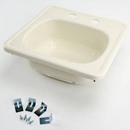 """Picture of Better Bath  14-11/16"""" Square Parchment ABS Plastic Outdoor Kitchen Sink 209356 10-5709"""