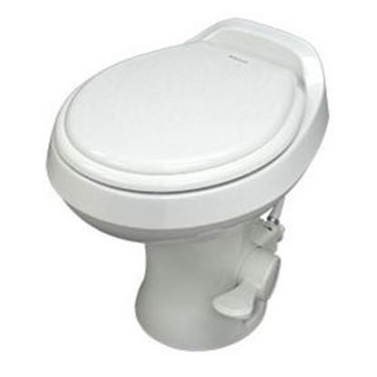 "Picture of Dometic 300 Series Bone 13-1/2"" Pedal Flush Permanent Toilet 302301673 12-0041"