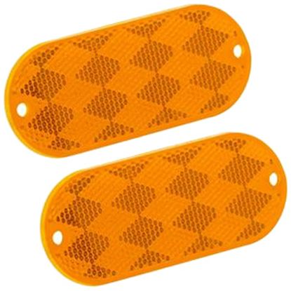 """Picture of Bargman  2-Pack 3-1/4""""x1-1/2"""" Rectangular Amber Stick-On/Screw Mount Reflector 71-78-020 18-0076"""