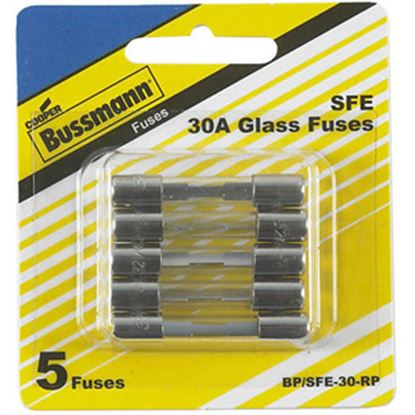 Picture of Bussman  5-Pack 30A SFE Glass Tube Fuse BP/SFE-30-RP 19-3442