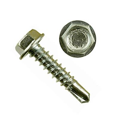 """Picture of AP Products  100-Pack 10"""" X 1""""L Unslotted Hex Washer Head Screw 012-DP100 10 X 1 20-0252"""