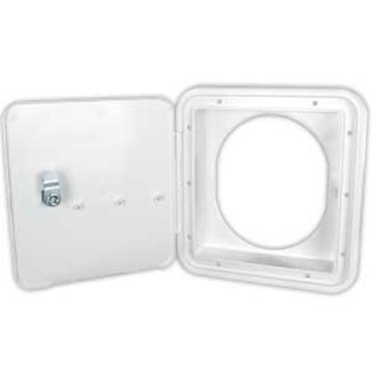 Picture of JR Products  Polar White Fuel Hatch w/ Oval Bezel 71122-OVAL-A 22-0558