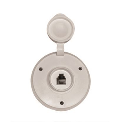 Picture of Prime Products  White Outdoor Round Single Phone Receptacle w/ Cover 08-6210 24-1002